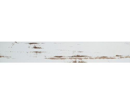 Carrelage de sol en grès-cérame fin Skagen blanc émaillé 14.1x88cm