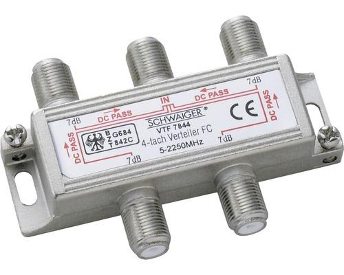 Répartiteur à 4 voies (12 dB) pour installations de répartition domestique Schwaiger VTF7844531