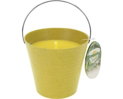 Bougie parfumée citronnelle dans seau Ø 12.5 H 11.5 cm jaune