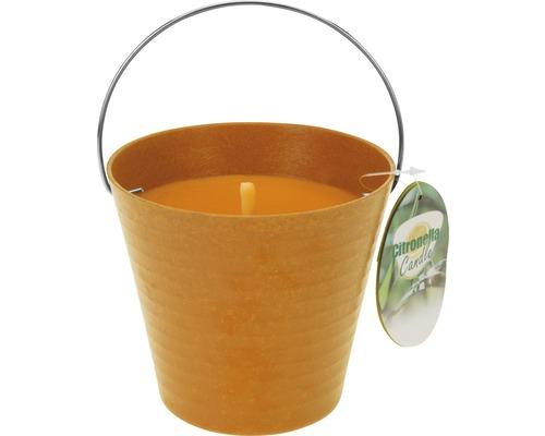 Bougie parfumée citronnelle dans seau Ø 12.5 H 11.5 cm orange