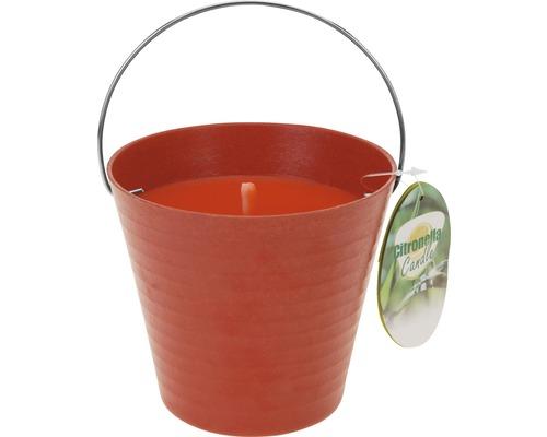 Bougie parfumée citronnelle dans seau Ø 12.5 H 11.5 cm rouge
