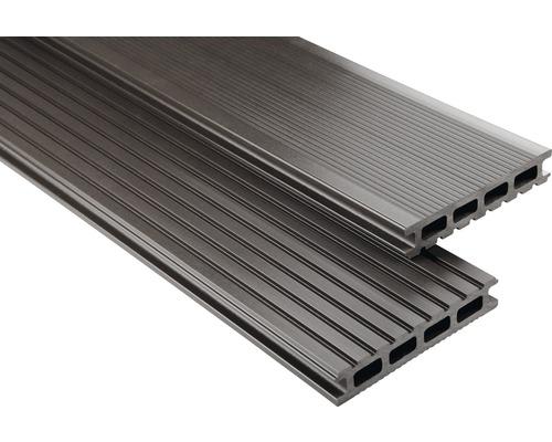 Lame de plancher Konsta WPC Primera gris brun lisse 26x145x3500mm