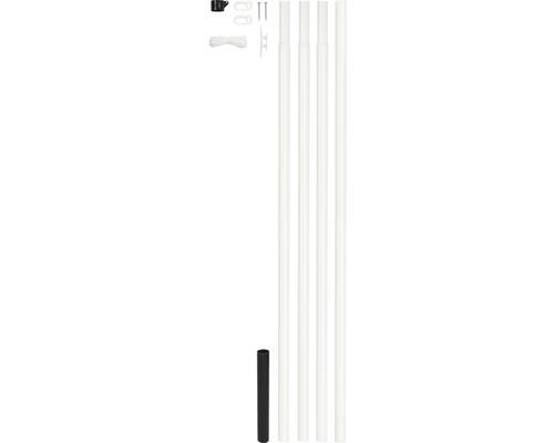 Mât de drapeau en acier blanc à sceller dans le béton, forme cylindrique, 6.15 m