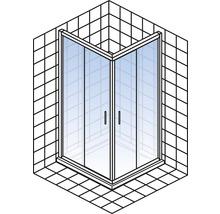 Eckeinstieg mit Schiebetür Schulte Kristall/Trend 80x80 cm Klarglas Profilfarbe chrom-thumb-2