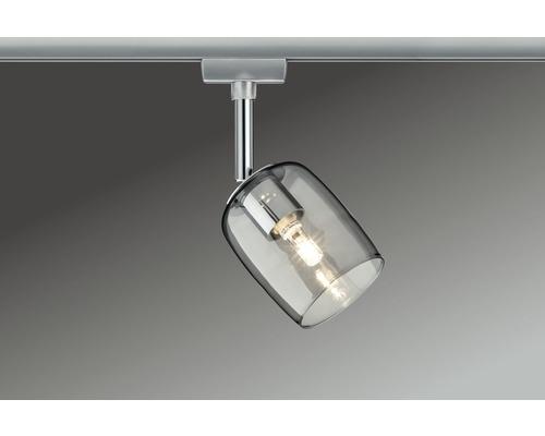 Spot URail Paulmann 1 ampoule Blossom chrome/mat verre fumé 230V