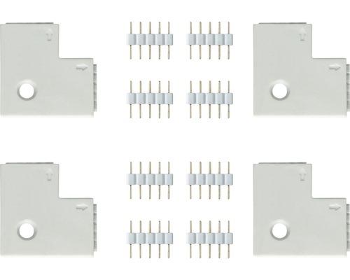 Connecteur d''angle MaxLED 90° 4/8 pièces blanc 24V