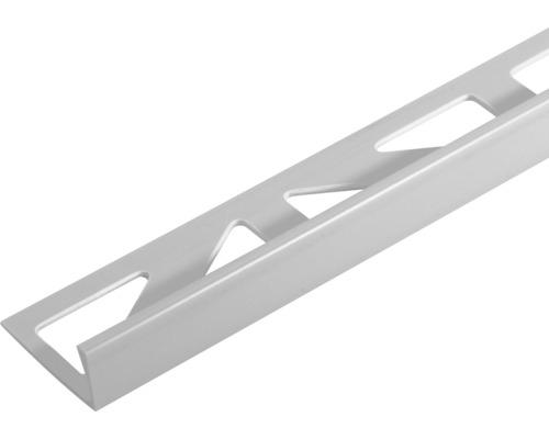 Profilé d''angle de finition Dural Durosol argent PVC longueur 250 cm hauteur 10 mm