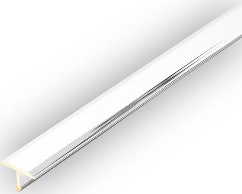 Profilé de séparation et de recouvrement Dural T-Floor laiton chromé longueur 100 cm hauteur 8 mm surface visible 14 mm argent