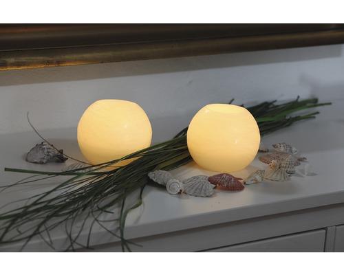 Bougie en cire véritable LED Bola Ø 15 H 12 cm, crème