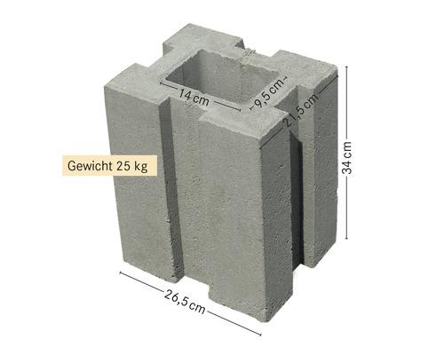 Pierre de fondation pour poteau 34x26.5x21.5 cm