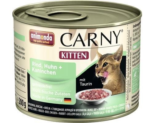 Nourriture humide pour chats, animonda Carny Kitten bœuf, poulet + lapin 200g