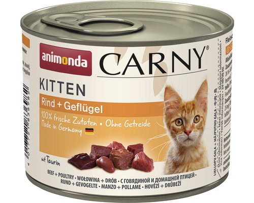 Nourriture humide pour chats animonda Carny Kitten bœuf + volaille 200 g 1 pack 6x200 g