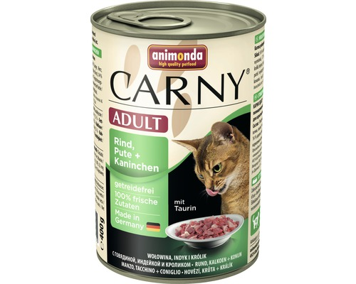 Nourriture humide pour chats, animonda Carny Adulte bœuf, dinde + lapin 400g