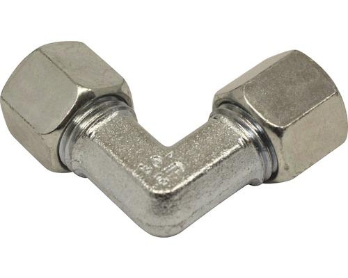 Angle de raccord avec bague coupante galvanisé 8 mm pour mazout