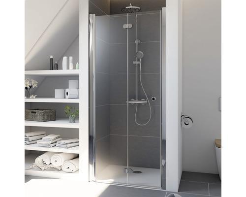 Porte pivotante-pliante pour niche Breuer Elana Komfort 80 cm butée à gauche, en verre transparent, profilé couleur chrome
