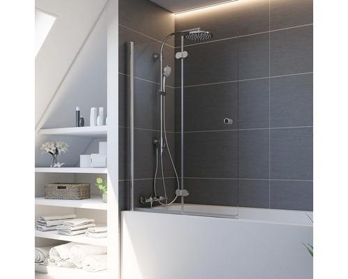 Pare-baignoire Breuer 2 parties montage à gauche alu nature