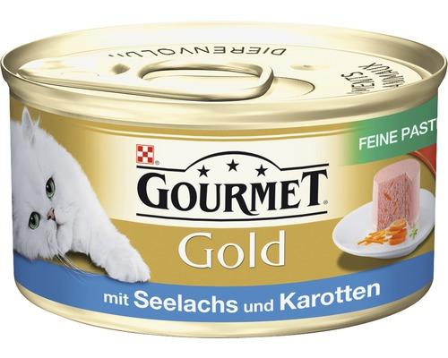 Nourriture humide pour chats, Gourmet Gold mousseline au colin et aux carottes 85g