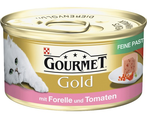 Nourriture humide pour chats, Gourmet Gold mousseline à la truite et à la tomate 85g