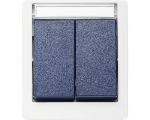 Interrupteur de série en saillie pour pièce humide verticale gris/bleu avec champ inscriptible ROTH LANGE 56812