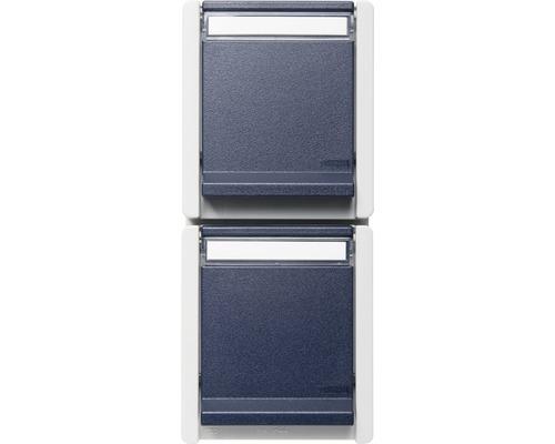 Prise de courant double en saillie pour pièce humide verticale gris/bleu avec champ inscriptible ROTH LANGE 56853