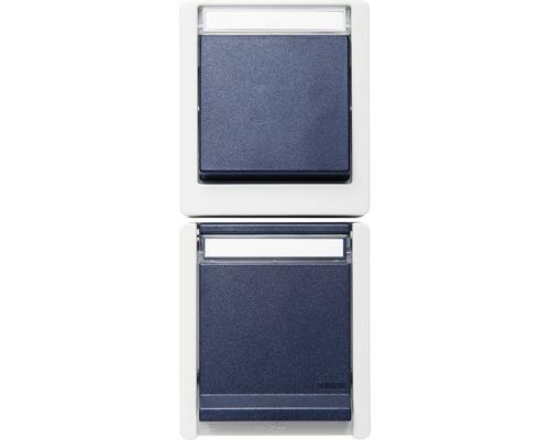 Combinaison prise de courant/interrupteur-inverseur en saillie pour pièce humide verticale gris/bleu avec éclairage et champ inscriptible ROTH LANGE 56831