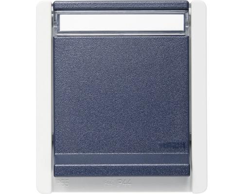 Prise de courant en saillie pour pièce humide verticale gris/bleu avec champ inscriptible ROTH LANGE 56851