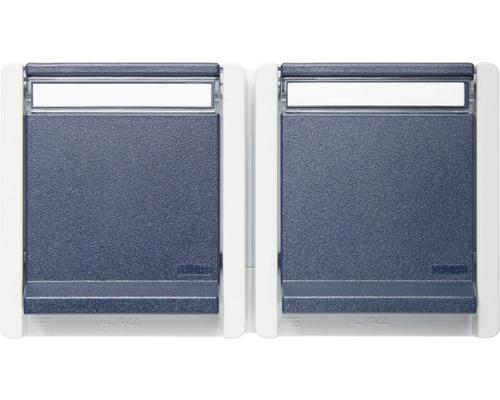 Prise de courant double en saillie pour pièce humide horizontale gris/bleu avec champ inscriptible ROTH LANGE 56852