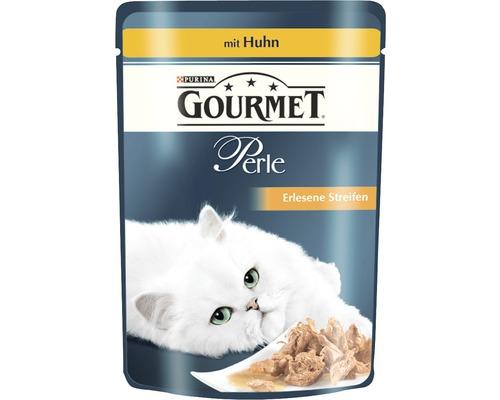 Nourriture humide pour chats, Gourmet Perle Délicieuses lamelles de poulet 85g