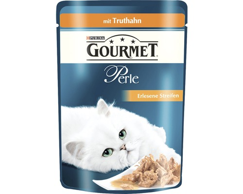 Nourriture humide pour chats, Gourmet Perle Délicieuses lamelles de dinde 85g