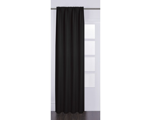 Rideau avec galon fronceur Canvas noir 140x280 cm