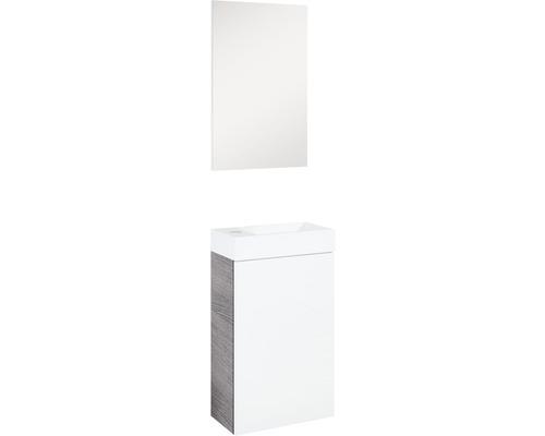 Kit de meubles de salle de bains ENSEMBLE DE MEUBLES SELINA GRIS/BLANC HAUTE BRILLANCE 138x22cm