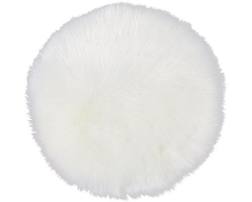 Galette de chaise fourrure synthétique blanc Ø 35 cm