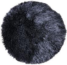 Galette de chaise fourrure synthétique noir Ø 35 cm-thumb-0