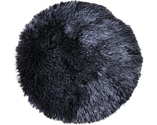 Galette de chaise fourrure synthétique noir Ø 35 cm