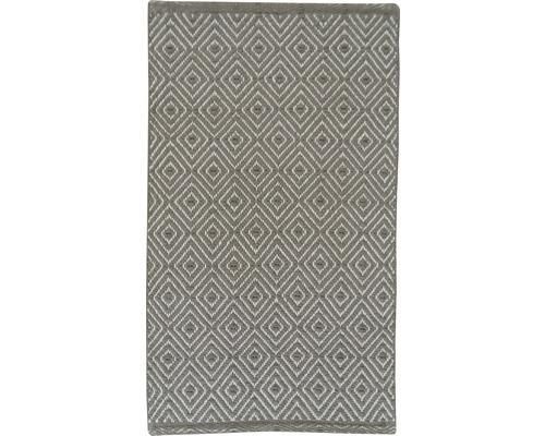 Tapis en chiffon à carreaux taupe blanc 50x80 cm