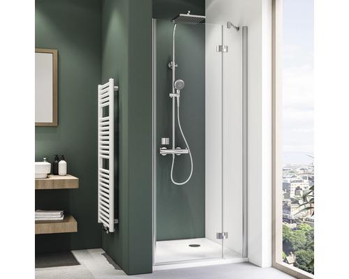 Porte pivotante pour niche Breuer Espira 80 cm butée à droite en verre transparent profilé couleur argent