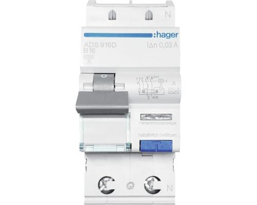Disjoncteur de protection en cas de défaut de courant Hager FI ADS916D B 16A 30mA