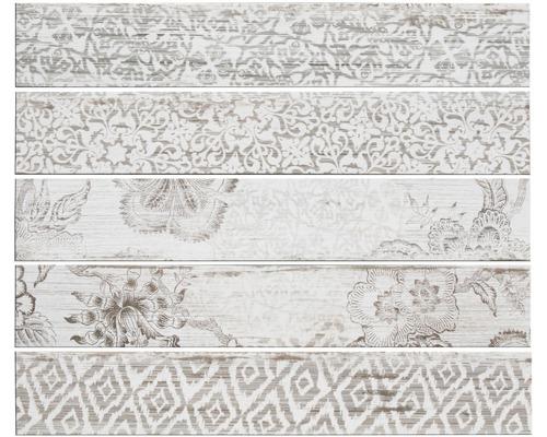 Carrelage de sol en grès-cérame fin Skagen blanc émaillé 15x90cm