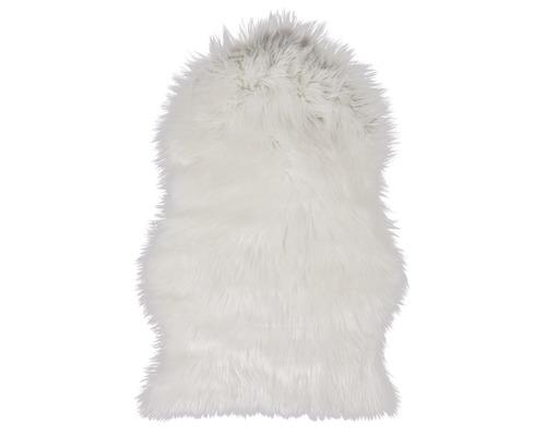 Fourrure synthétique de mouton blanc 55x80cm