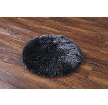 Galette de chaise fourrure synthétique noir Ø 35 cm-thumb-3