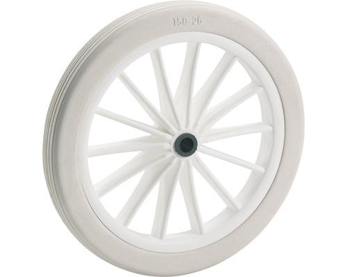 Tarrox PVC-Rad, bis 25 kg, mit weißer Kunststoff-Speichenfelge und Rillenprofil, 185 x 24 x 10 mm