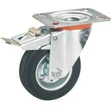 Roulette pivontante pour appareils de transport Tarrox, jusqu''à 100 kg, avec frein d''immobilisation totale, 125x157x37 mm, plaque 105x85 mm-thumb-0