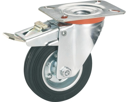 Tarrox Transport-Geräte-Lenkrolle, bis 70 kg, mit Platte und Totalfeststeller, 100 x 128 x 30 mm