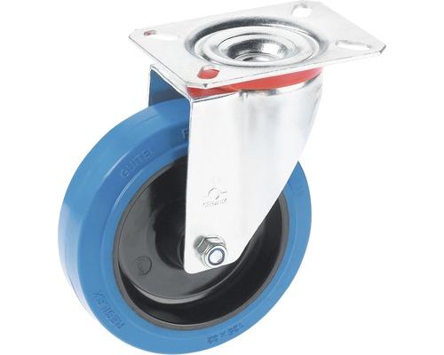 Tarrox Transport-Geräte-Lenkrolle, bis 150 kg, mit blauem Elastikrad und Platte, 100 x 128 x 36 mm