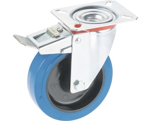 Tarrox Transport-Geräte-Lenkrolle, bis 150 kg, mit blauem Elastikrad, Platte und Totalfeststeller, 100 x 128 x 36 mm