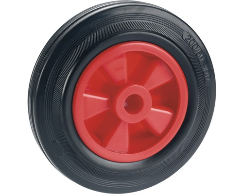 Tarrox Standard Vollgummirad, bis 120 kg, mit Kunststofffelge, rot 160 x 40 x 20 mm