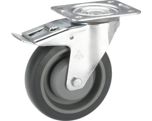 Tarrox Transport-Geräte-Lenkrolle, bis 140 kg, mit Platte und Totalfeststeller 80 x 108 x 32 mm