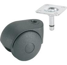 Roulette pivotante double pour appareils de transport, jusqu''à 20 kg, 40 x 58 x 8 mm-thumb-0