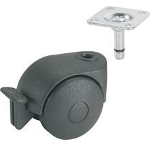 Roulette double pour appareils de transport, blocable, jusqu''à 20 kg, 40 x 58 x 8 mm-thumb-0