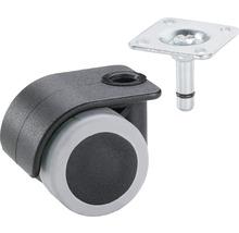 Roulette pour conteneurs, jusqu''à 70 kg, 35 x 50 mm noir/gris-thumb-0